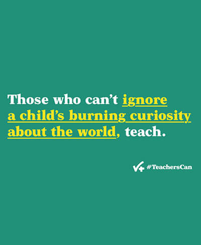 Green desktop wallpaper with phrase Those who can't ignore a child's burning curiosity about the world, teach.